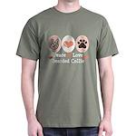 Peace Love Bearded Collie Dark T-Shirt
