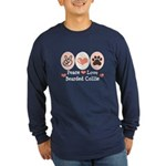 Peace Love Bearded Collie Long Sleeve Dark T-Shirt