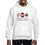 Peace Love Bearded Collie Hooded Sweatshirt