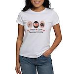 Peace Love Bearded Collie Women's T-Shirt