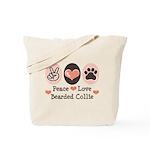 Peace Love Bearded Collie Tote Bag