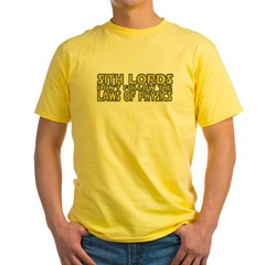 Sith Lords and Physics Yellow T-Shirt