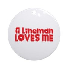 A Lineman Loves Me Ornament (Round)