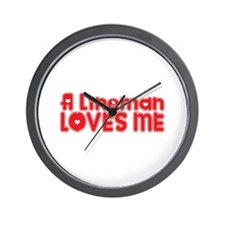 A Lineman Loves Me Wall Clock