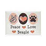 Peace Love Beagle Rectangle Magnet