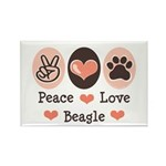 Peace Love Beagle Rectangle Magnet (10 pack)