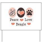 Peace Love Beagle Yard Sign
