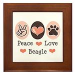 Peace Love Beagle Framed Tile