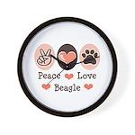 Peace Love Beagle Wall Clock