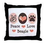 Peace Love Beagle Throw Pillow