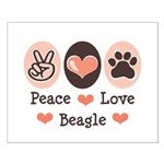 Peace Love Beagle Small Poster