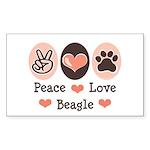 Peace Love Beagle Rectangle Sticker
