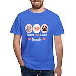 Peace Love Beagle Dark T-Shirt