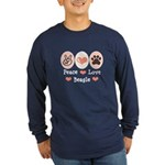 Peace Love Beagle Long Sleeve Dark T-Shirt