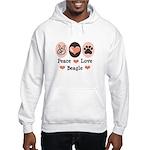 Peace Love Beagle Hooded Sweatshirt