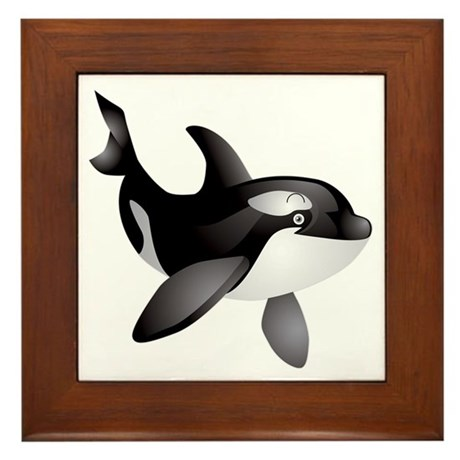 Friendly Orca Framed Tile