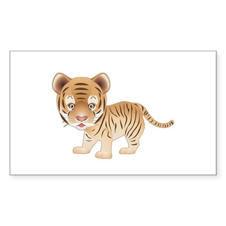 Cuddly Baby Tiger Rectangle Sticker