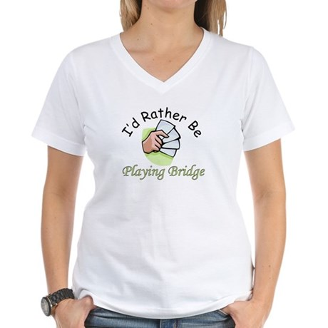 Playing Bridge Women's V-Neck T-Shirt