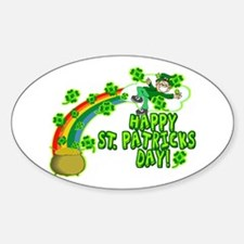 Happy St. Patrick's Day Classic Oval Decal