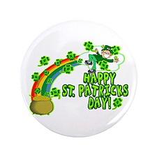 "Happy St. Patrick's Day Classic 3.5"" Button"
