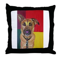 Dog with tie Throw Pillow