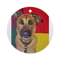 Dog with tie Ornament (Round)