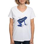 Blue Poison Frog (Front) Women's V-Neck T-Shirt