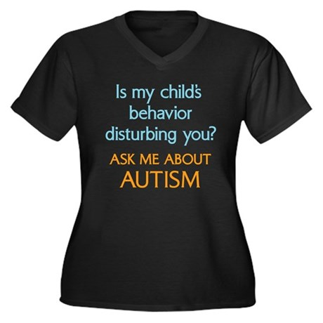 Autism Behavior Women's Plus Size V-Neck Dark T-Sh