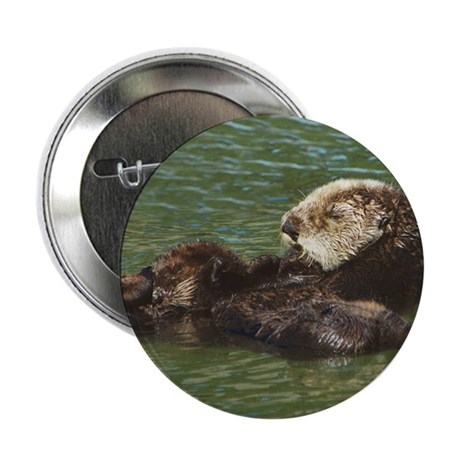 "Mom and Baby Sea Otters 2.25"" Button (10 pack)"