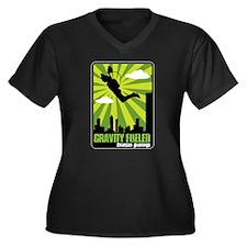 Base Jumping Women's Plus Size V-Neck Dark T-Shirt