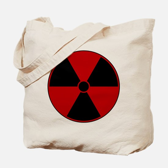 Red Radiation Symbol Tote Bag