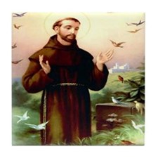 St. Francis & Birds Ceramic Tile