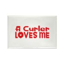 A Curler Loves Me Rectangle Magnet
