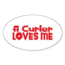 A Curler Loves Me Oval Decal