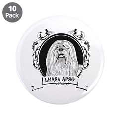 """Lhasa Apso 3.5"""" Button (10 pack)"""