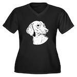 Dachsund Women's Plus Size V-Neck Dark T-Shirt