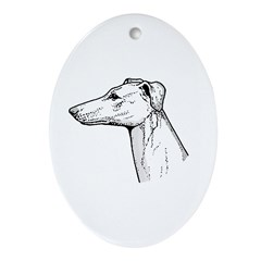 Greyhound Oval Ornament