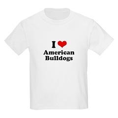 I Love American Bulldogs Kids Light T-Shirt