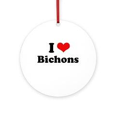 I Love Bichons Ornament (Round)