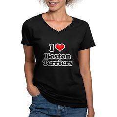 I Love Boston Terriers Women's V-Neck Dark T-Shirt