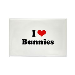 I Love Bunnies Rectangle Magnet (100 pack)