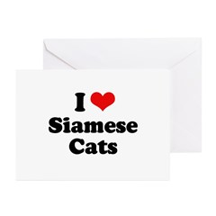 I Love Siamese Cats Greeting Cards (Pk of 20)