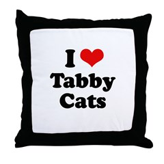 I Love Tabby Cats Throw Pillow