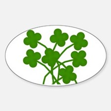Seven 4-Leaf Clovers Oval Decal
