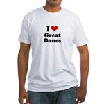I Love Great Danes Fitted T-Shirt