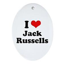 I Love Jack Russells Oval Ornament