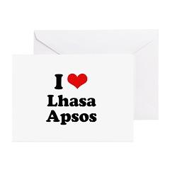 I Love Lhasa Apsos Greeting Cards (Pk of 20)