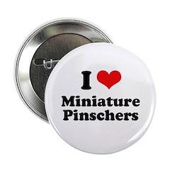 """I Love Miniature Pinschers 2.25"""" Button (100 pack)"""