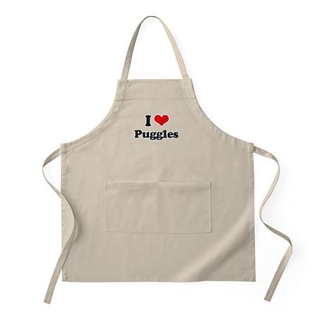 I Love Puggles BBQ Apron
