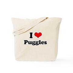 I Love Puggles Tote Bag